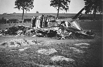 English: Wreckage of a Fairley Battle shot dow...