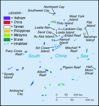 English: Spratly Islands military settlements ...