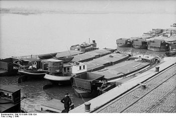 Invasion barges assembled at the German port o...