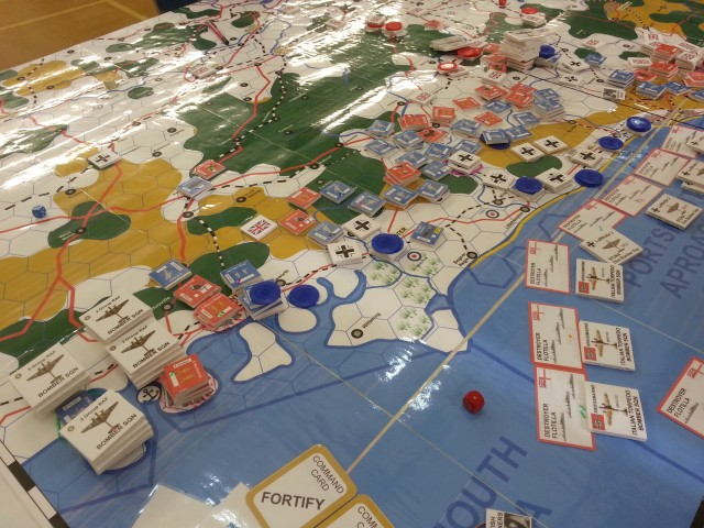 The megagame Don't Panic map at the end of the game, showing the extent of the German advance.