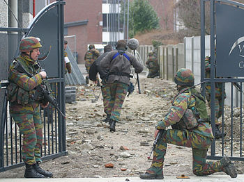 Belgian soldiers during an exercise