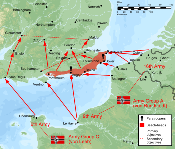 English: Plan of battle of Operation Sealion, ...